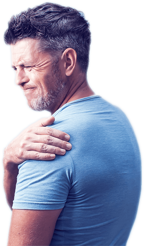 Man with shoulder pain in need of Fort Worth Chiropractor